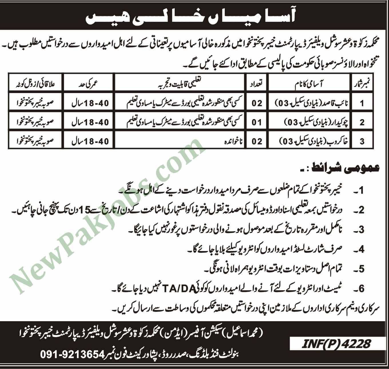 Jobs in Zakat and Ushr Social Welfare, Naib Qasid & Other in Peshawar