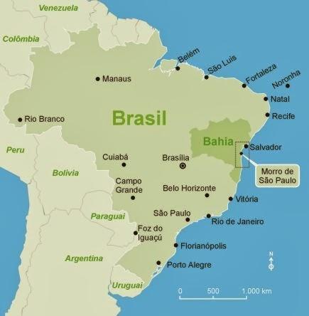 Mapa do Brasil - Salvador e Bahia