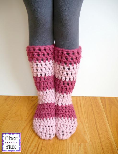 Fiber Flux Free Crochet Patternrawberry Blossom Slipper Socks