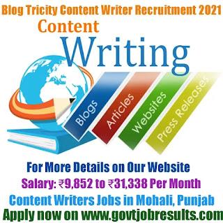 Blog Tricity Content Writer Recruitment 2021-22