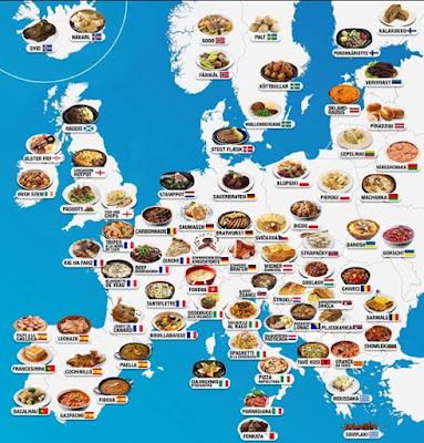 mapa da europa com comidas tipicas
