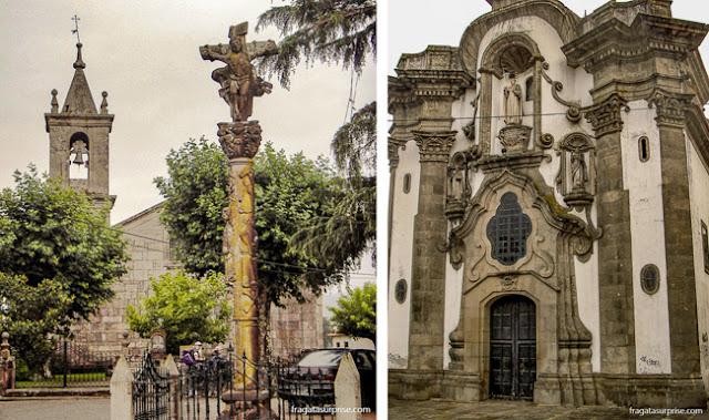 Um cruzeiro de pedra típico da Galícia e a Igreja de San Telmo, no Centro Histórico de Tui