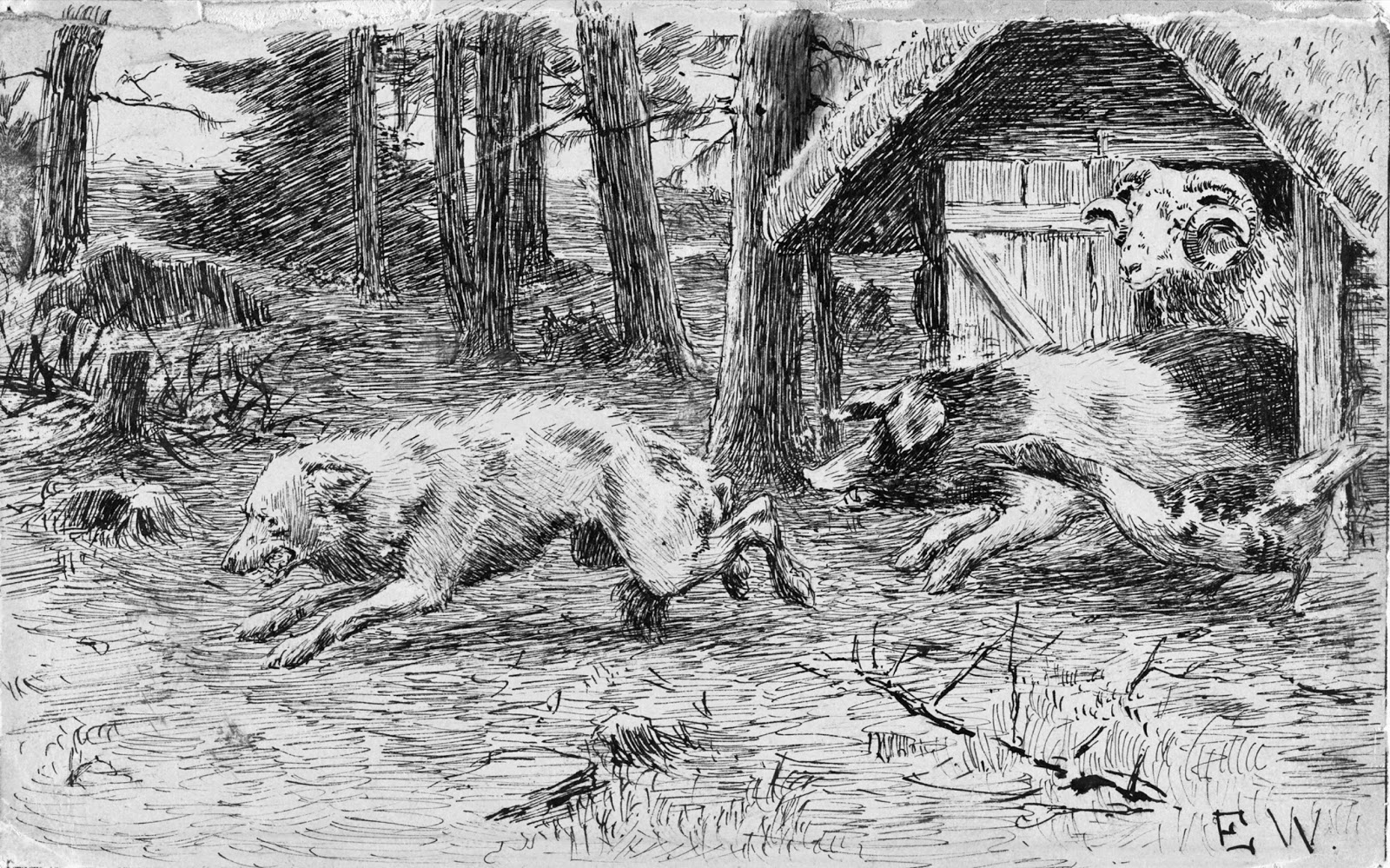 Wolf chased by pig, by Erik Werenskiold.