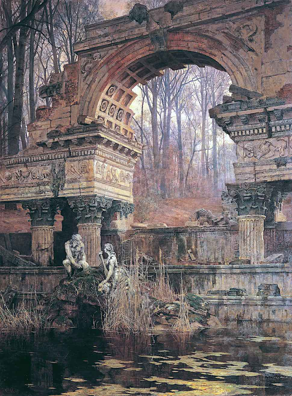 a Carl Moll painting of ruins with pond marsh