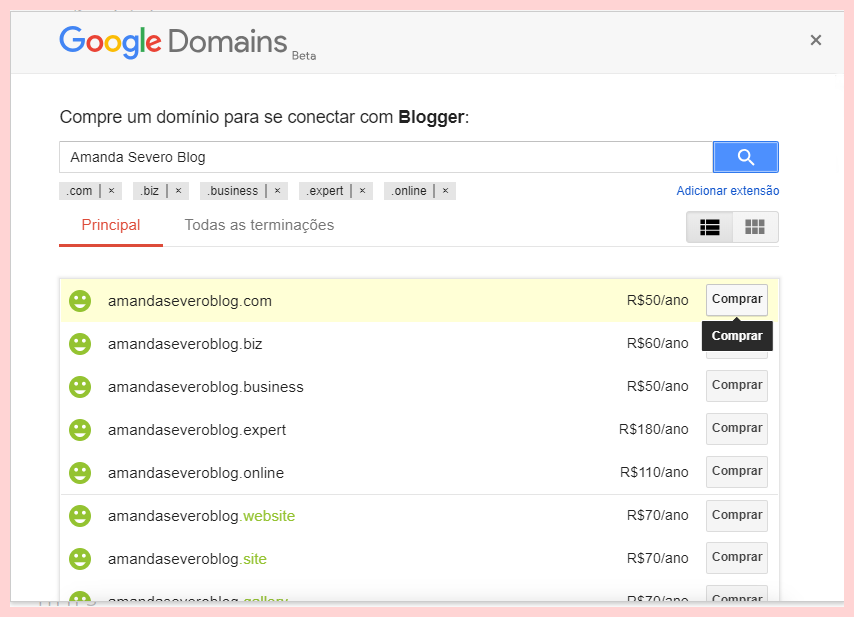 Como colocar domínio próprio no blogger usando o Google Domains