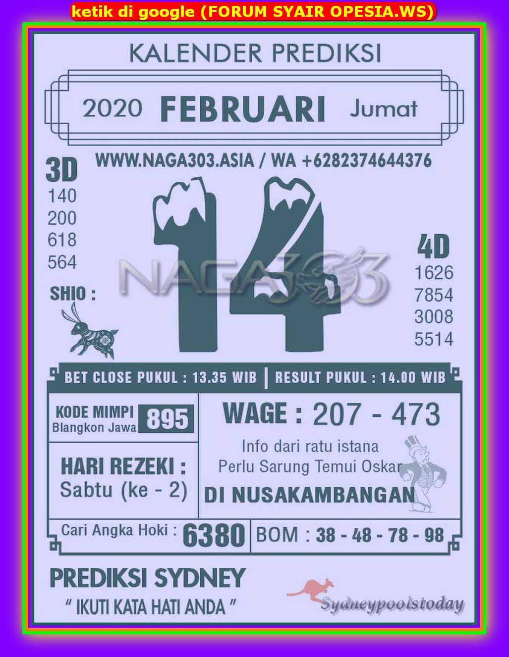Kode syair Sydney Jumat 14 Februari 2020 41