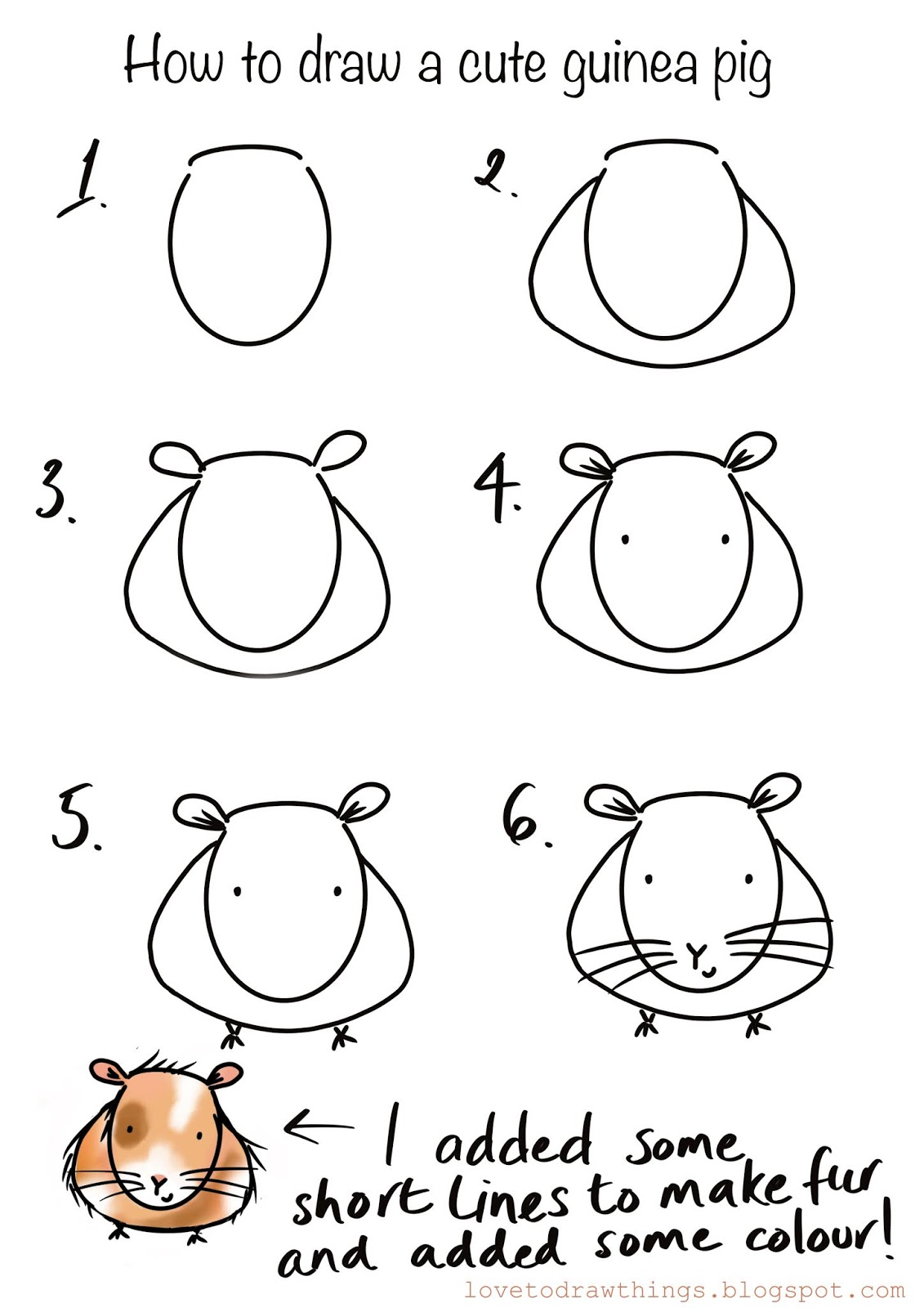Love To Draw Things How To Draw A Cute Guinea Pig