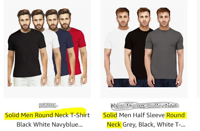 Solid men round neck t-shirts