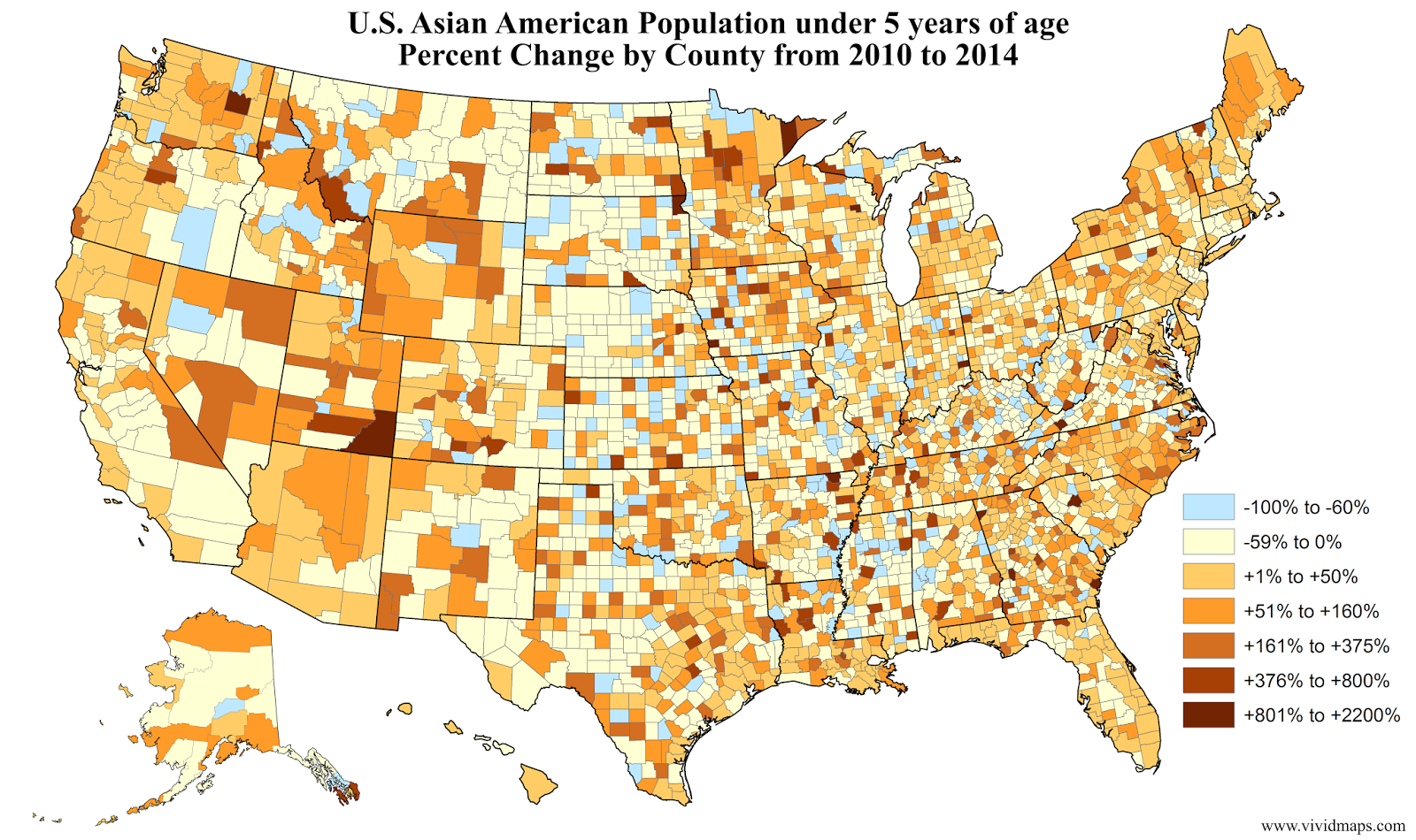 U.S. Asian American Population under 5 years of age Percent Change by County (2010 - 2014)