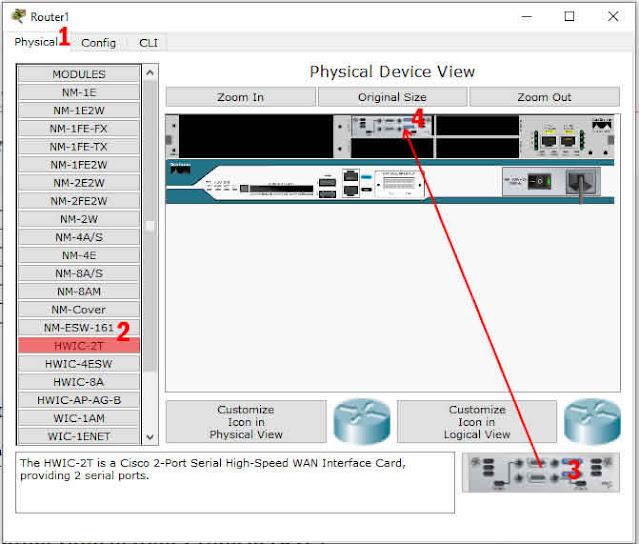 memasang module HWIC-2T pada router