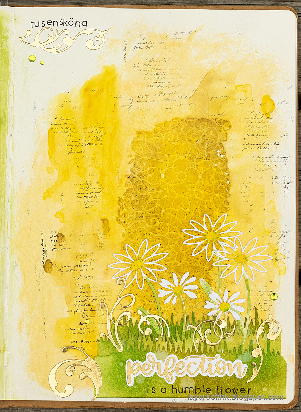 Layers of ink - Daisy Art Journal Page by Anna-Karin Evaldsson.
