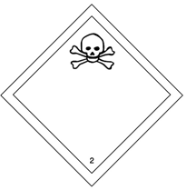 hazmat Class 2 ,Gases , division 2.3 placard