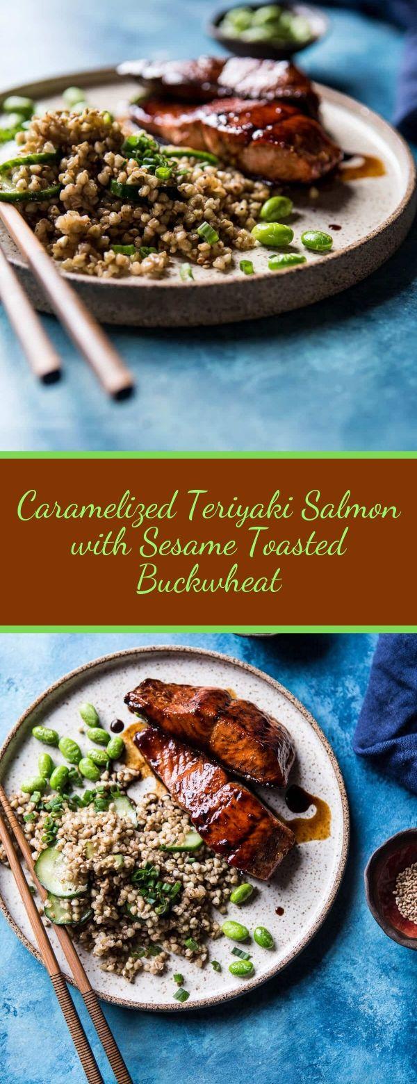 caramelized teriyaki salmon with sesame toasted buckwheat