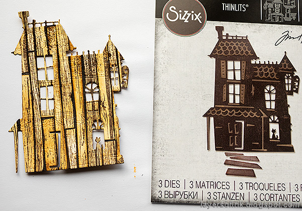 Layers of ink - Old Spooky House Tutorial by Anna-Karin Evaldsson. Die cut with Tim Holtz Haunted.