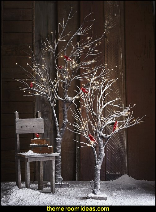 Snowy Willow Tree Rustic Christmas  decorating ideas