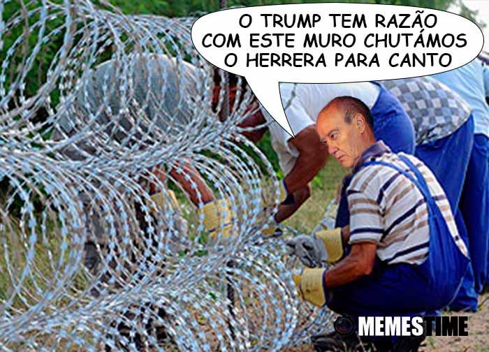 GIF Memes Time – Pinto da Costa a construir um muro – O Trump tem razão, com este muro chutámos o Herrera para canto (fotos base: deportes.terra.com & commdiginews.com)