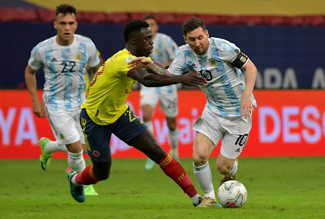 Argentina captain Lionel Messi in action against Colombia - Copa America