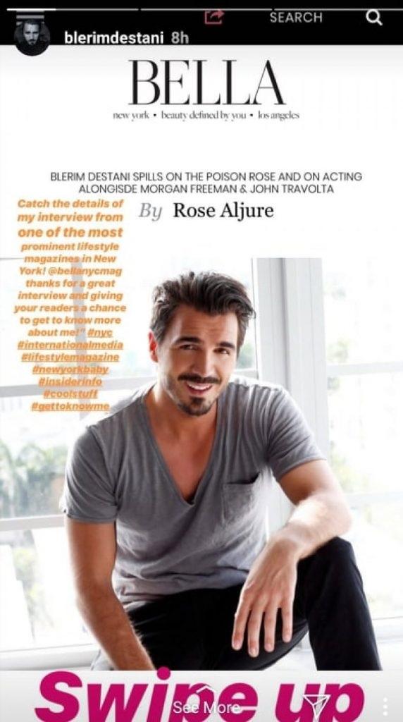 Blerim Destani on the cover of Bella magazine