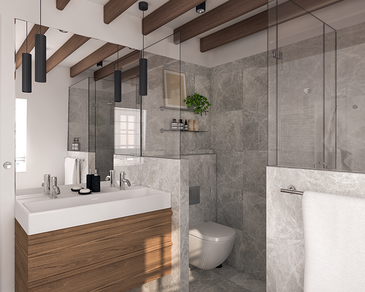 New in portfolio: Marble and wood bathroom design | My ...