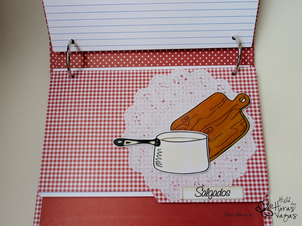 livro caderno de receitas personalizado vermelho e branco