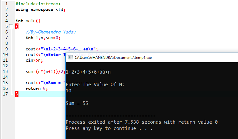 C++ Program To Find Sum Of The Following Series 1+2+3+4+5+6 . . . . . n