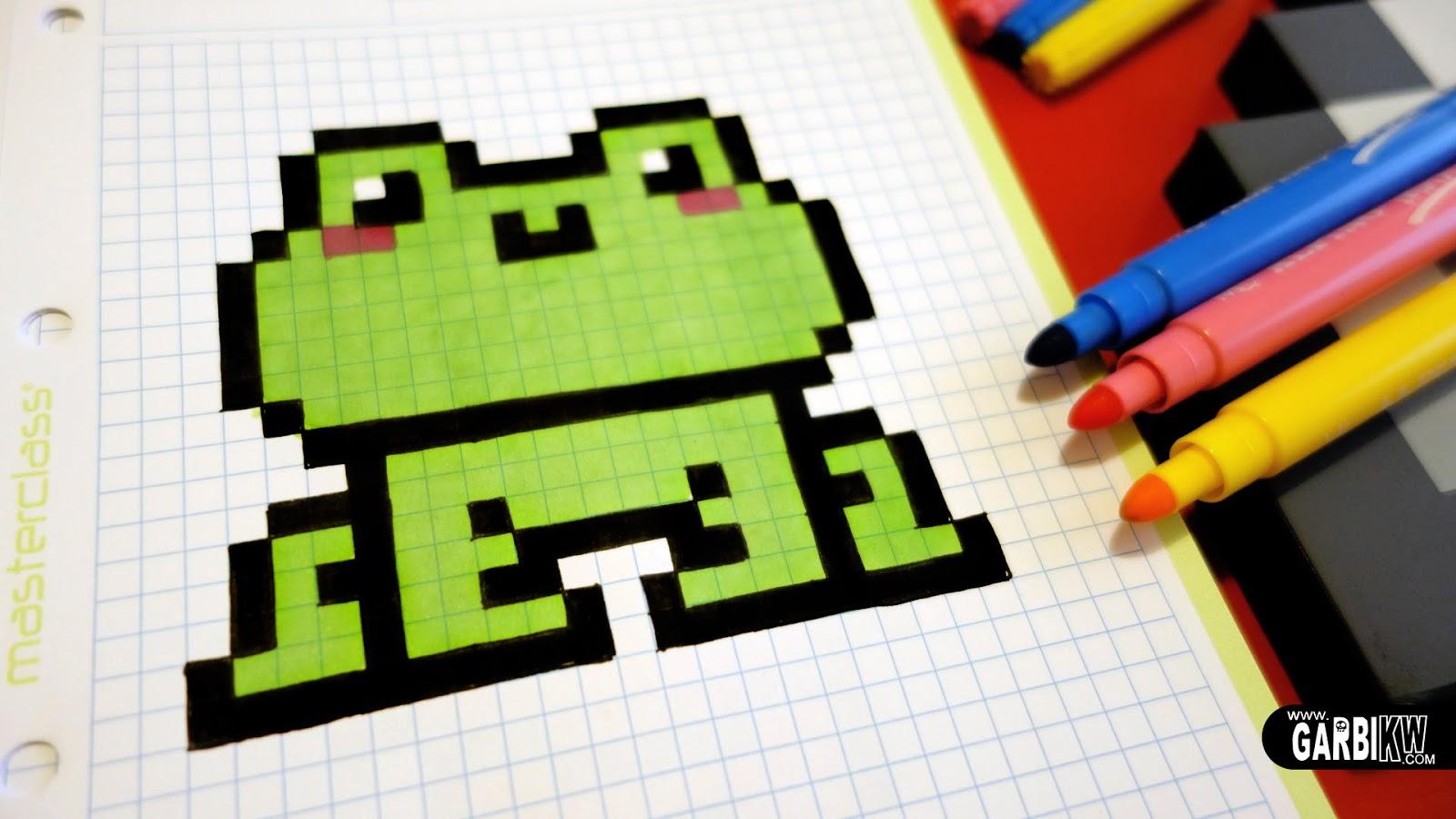 Très Handmade Pixel Art - How To Draw a Kawaii Frog #pixelart | Hello  KR94