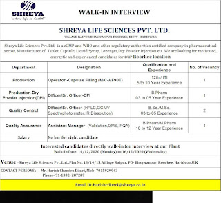 12th/ ITI/B.Sc /M.Sc/ B.Pharm/ M.Pharm Walk In Interview in Shreya Life Sciences Pvt. Ltd.