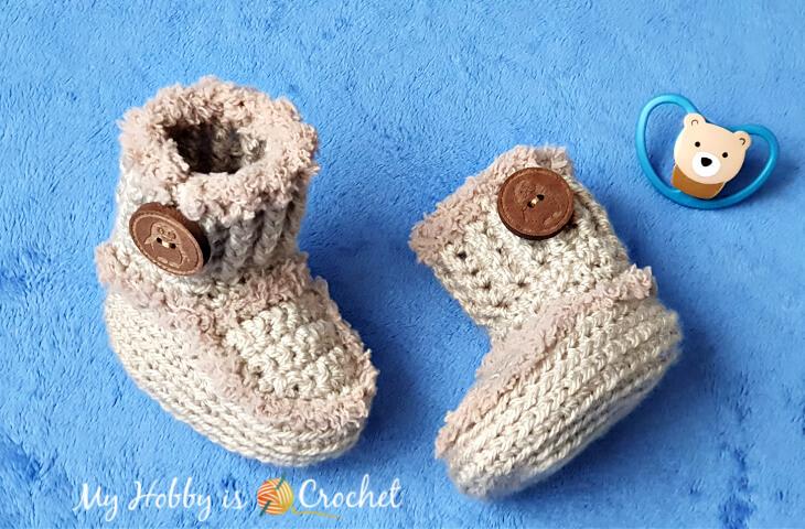 Crochet baby booties Ugg-style