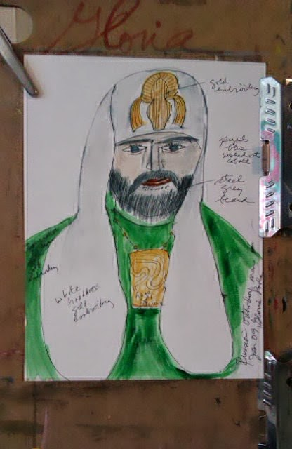 Russian Orthodox Minister ethnic sketch by Gloria Poole; prelim drawing ethnic