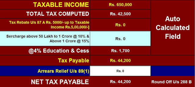 Income Tax Calculator for F.Y. 2020-2021