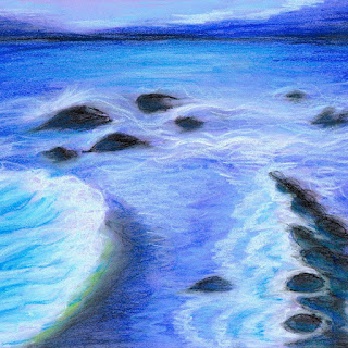 Sea soft pastel drawing