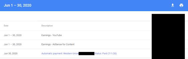 Google Adsense Payment - June 2020
