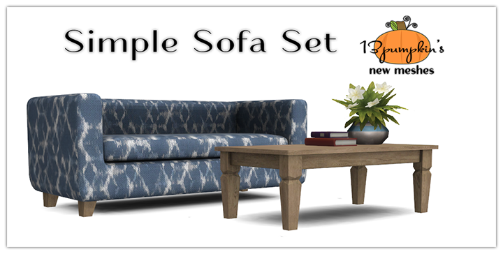 My sims 4 blog simple sofa living room set by 13pumpkin31 for Sofa bed sims 4