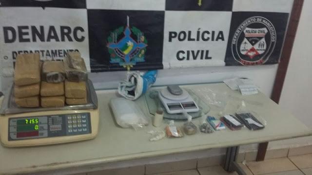 Suspeitos são presos por homicídio e tráfico de drogas na Capital