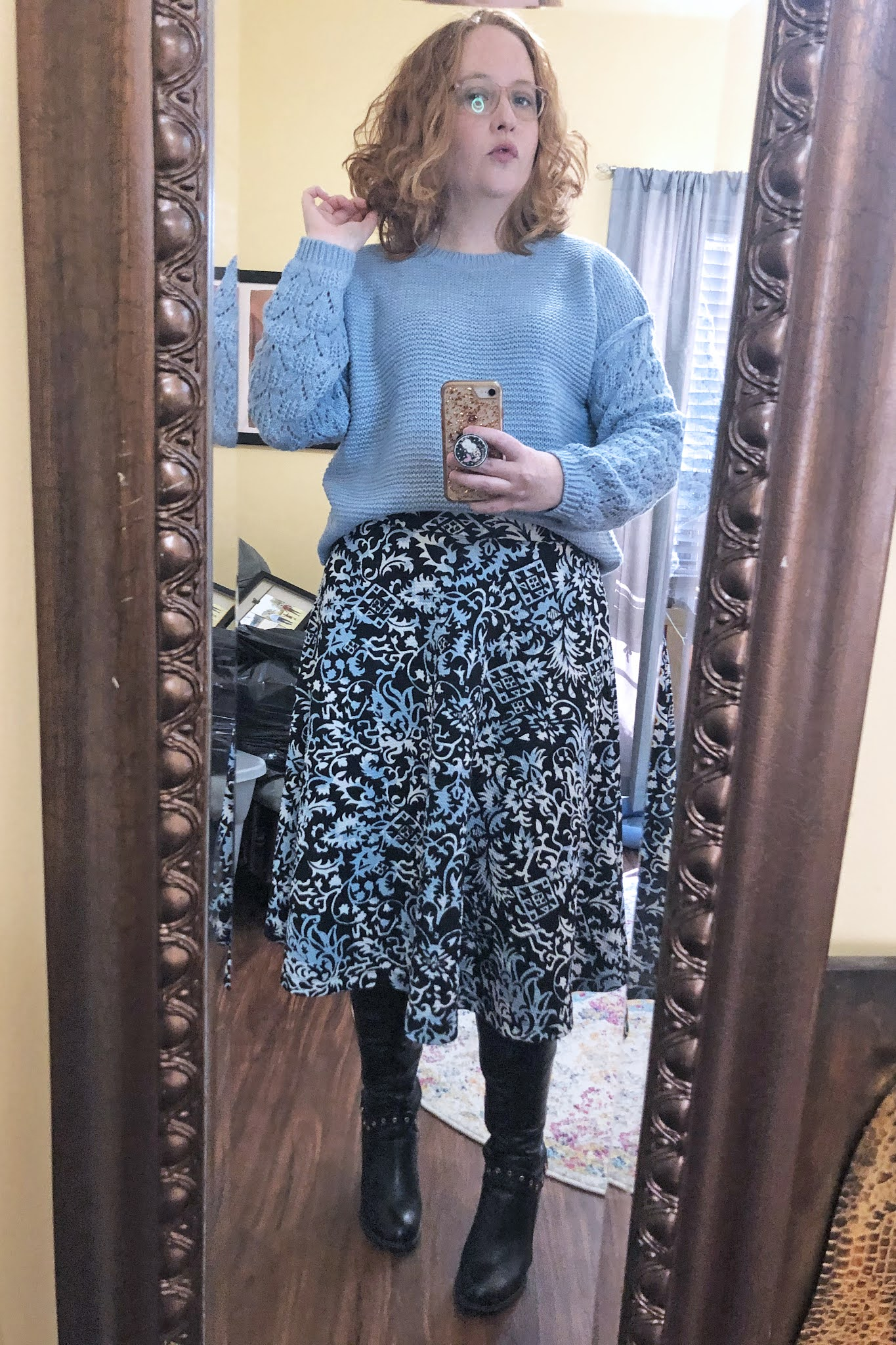 blue and black sweater and skirt