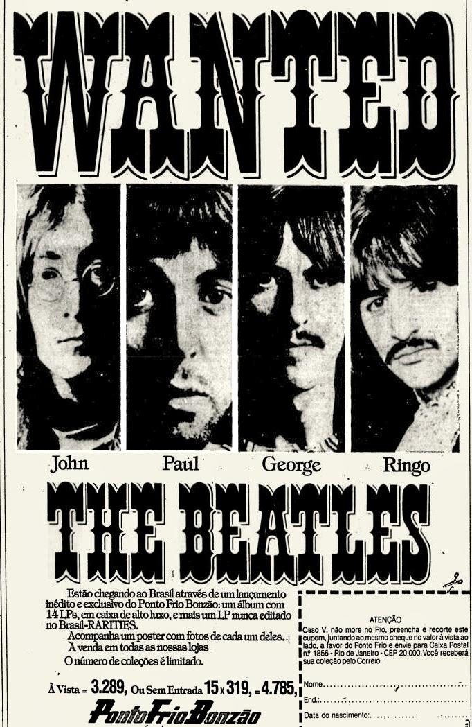 Propaganda antiga da rede Ponto Frio promovendo coleção de disco dos Beatles no final dos anos 70