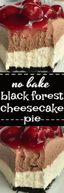 {no bake} Black Forest Cheesecake Pie