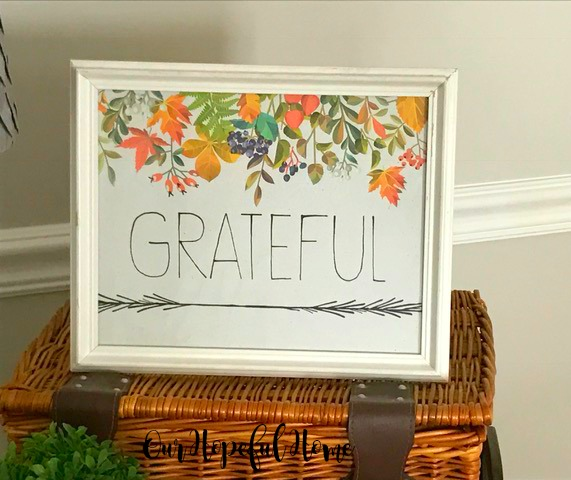 Thrill of the Hunt grateful printable autumn leaves white frame