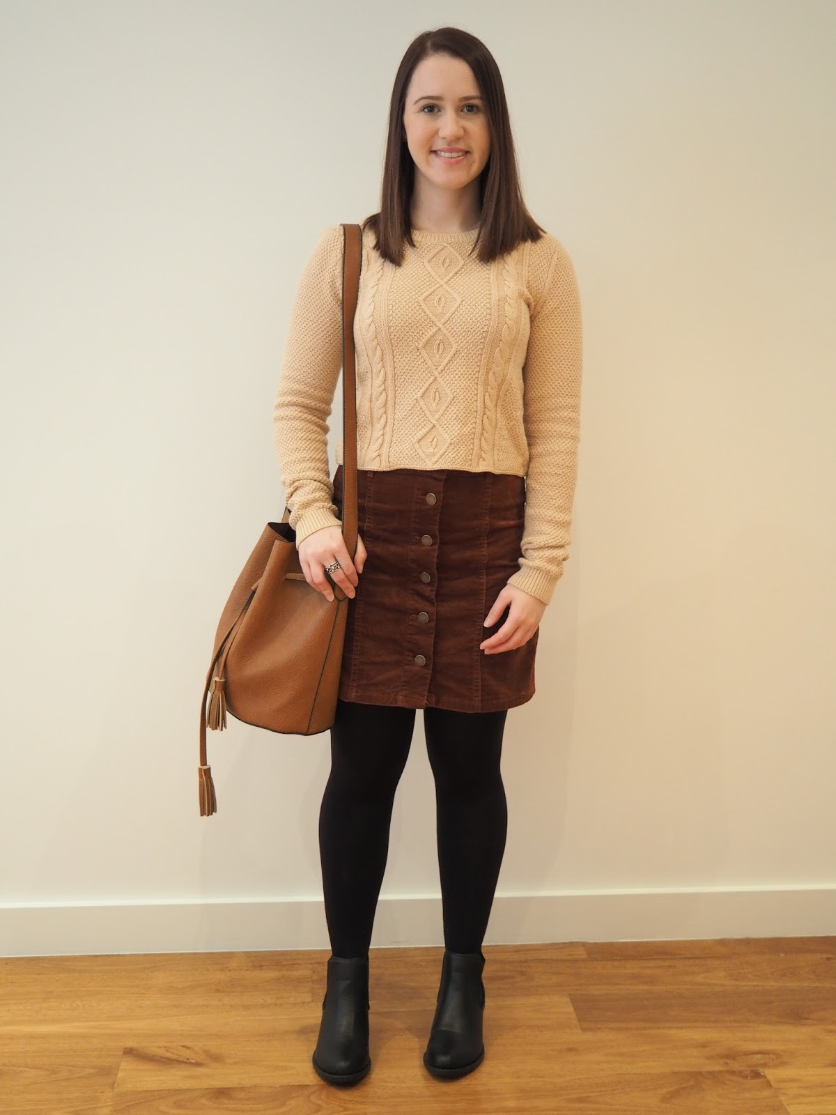 winter outfit, fall outfit, camel cropped knit, walnut cord skirt, ankle boots, ankle chelsea boots, tan bucket bag, work outfit