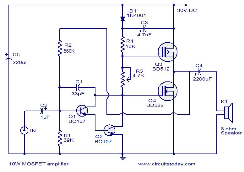 Rangkaian Power untuk Amplifier 10 Watt