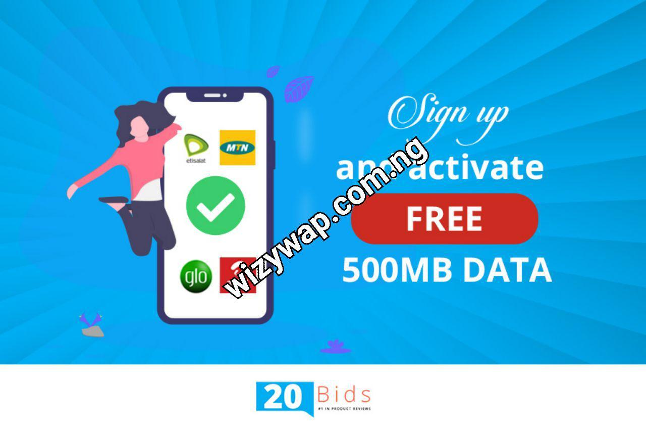 How to get free 500mb from 20bids - Best tech blog