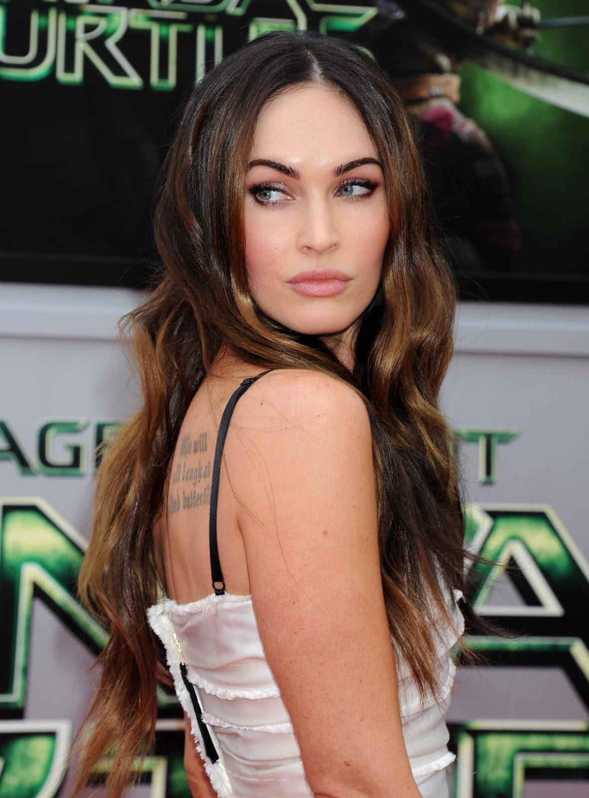 Full HQ Photos of Megan Fox with Back Tattoo At Teenage Mutant Ninja Turtles Premiere In Westwood