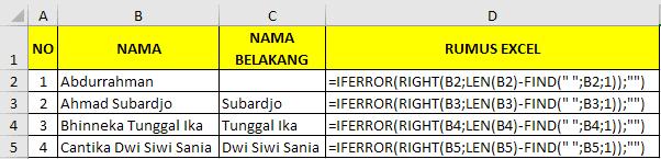 Cara memisahkan nama belakang dengan rumus excel 1