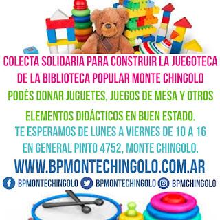 Colecta Solidaria de juguetes para construir la Juegoteca de la Biblioteca Popular Monte Chingolo