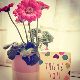 Flowers and a Thank You card because who doesn't love Flowers and a Thank you?!