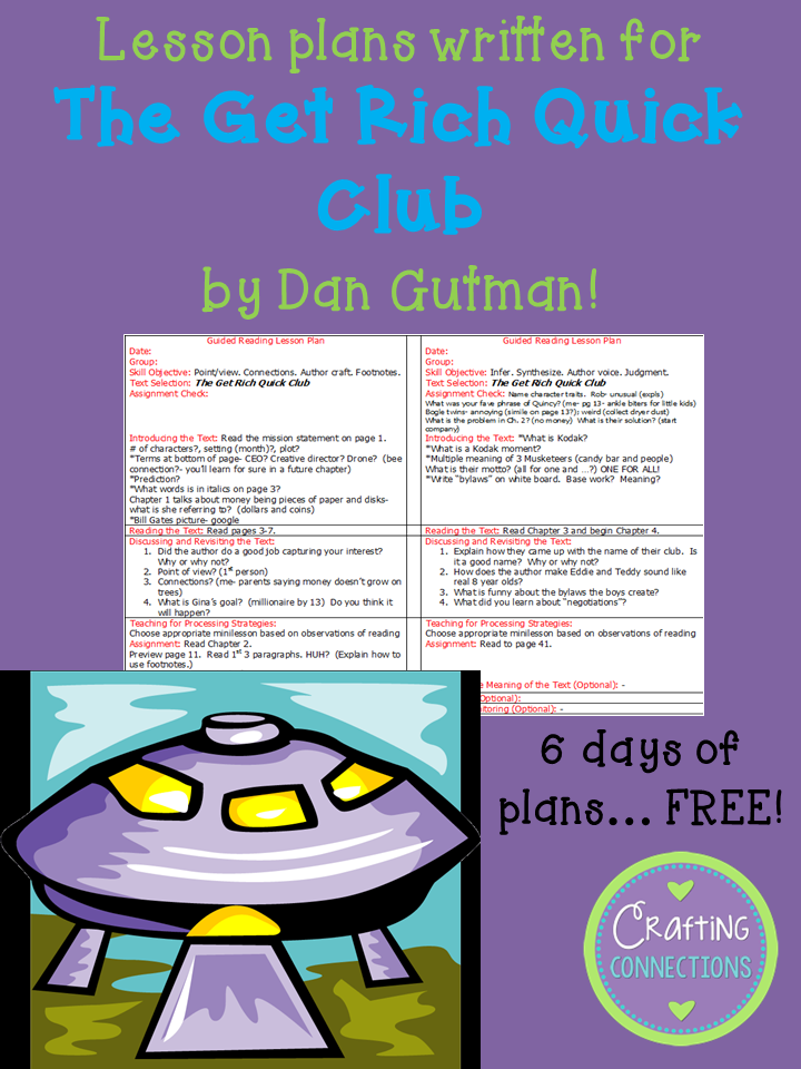 FREE guided reading lesson plans written for the book The Get Rich Quick Club!