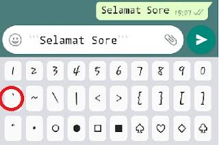 Cara membuat tulisan monospace di pesan WhatsApp
