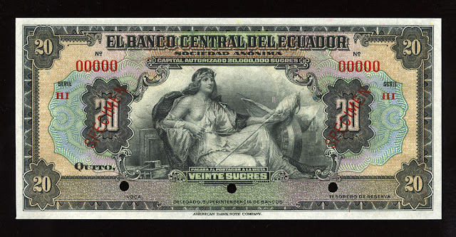 World currency money Ecuador Sucre banknote bill