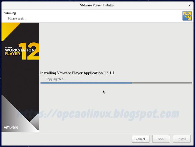 Aguarde enquanto o VMware Workstation Player é instalado...