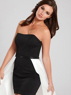 black & white high strapless dress front design
